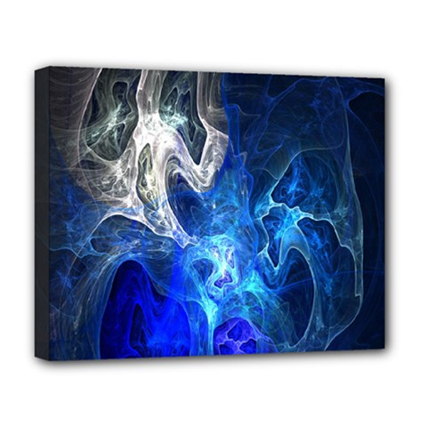 Ghost Fractal Texture Skull Ghostly White Blue Light Abstract Deluxe Canvas 20  X 16   by Simbadda