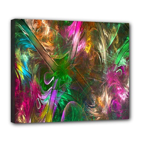 Fractal Texture Abstract Messy Light Color Swirl Bright Deluxe Canvas 24  X 20   by Simbadda