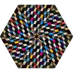 Abstract Multicolor Cubes 3d Quilt Fabric Mini Folding Umbrellas by Onesevenart