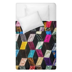 Abstract Multicolor Cubes 3d Quilt Fabric Duvet Cover Double Side (single Size) by Onesevenart