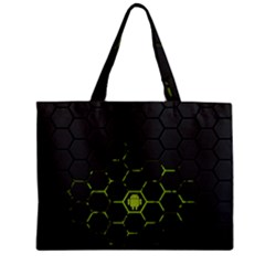 Green Android Honeycomb Gree Zipper Mini Tote Bag by Onesevenart
