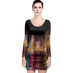 Light Water Cityscapes Night Multicolor Hong Kong Nightlights Long Sleeve Bodycon Dress by Onesevenart