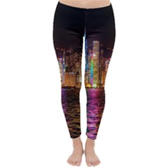 Light Water Cityscapes Night Multicolor Hong Kong Nightlights Classic Winter Leggings