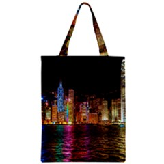 Light Water Cityscapes Night Multicolor Hong Kong Nightlights Zipper Classic Tote Bag by Onesevenart