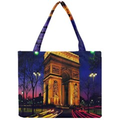 Paris Cityscapes Lights Multicolor France Mini Tote Bag by Onesevenart