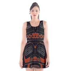 Traditional Northwest Coast Native Art Scoop Neck Skater Dress by Onesevenart