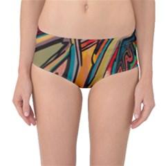 Vivid Colours Mid Waist Bikini Bottoms by Onesevenart