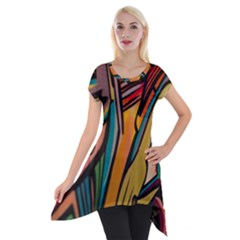 Vivid Colours Short Sleeve Side Drop Tunic by Onesevenart