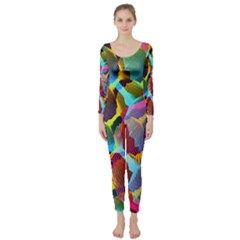 3d Pattern Mix Long Sleeve Catsuit by Onesevenart