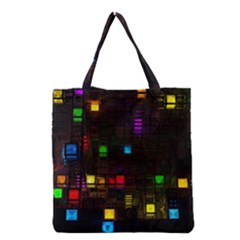 Abstract 3d Cg Digital Art Colors Cubes Square Shapes Pattern Dark Grocery Tote Bag by Onesevenart