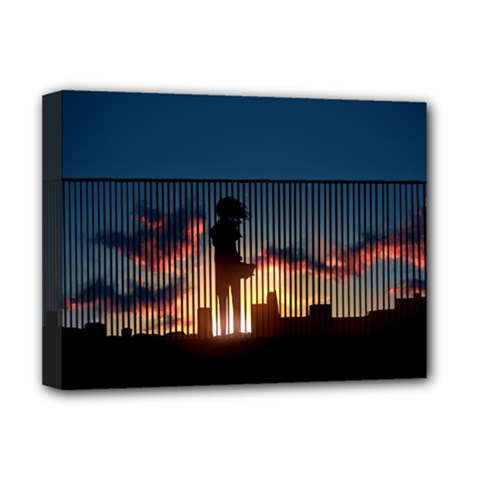 Art Sunset Anime Afternoon Deluxe Canvas 16  x 12   by Onesevenart