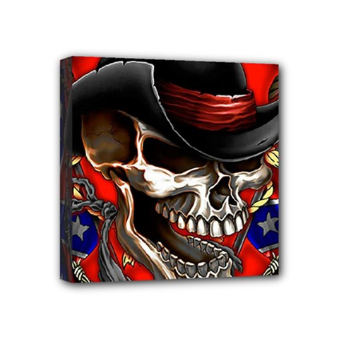 Confederate Flag Usa America United States Csa Civil War Rebel Dixie Military Poster Skull Mini Canvas 4  X 4  by Onesevenart