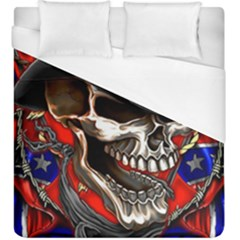 Confederate Flag Usa America United States Csa Civil War Rebel Dixie Military Poster Skull Duvet Cover (King Size) by Onesevenart
