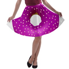 Donut Transparent Clip Art A Line Skater Skirt by Onesevenart