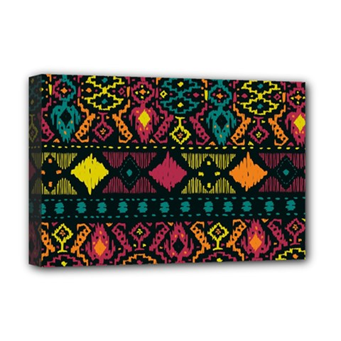 Ethnic Pattern Deluxe Canvas 18  X 12   by Onesevenart