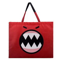 Funny Angry Zipper Large Tote Bag by Onesevenart