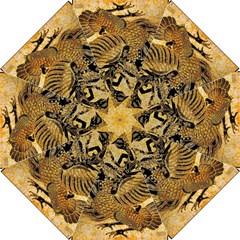 Golden Colorful The Beautiful Of Art Indonesian Batik Pattern Hook Handle Umbrellas (large)