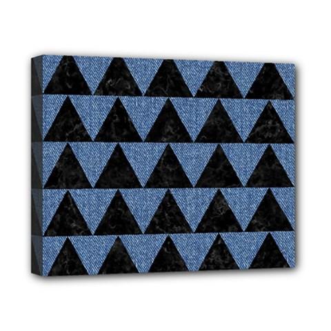 Triangle2 Black Marble & Blue Denim Canvas 10  X 8  (stretched) by trendistuff