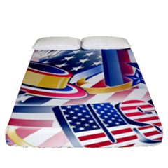 United States Of America Usa  Images Independence Day Fitted Sheet (queen Size) by Onesevenart