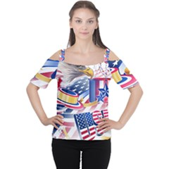 United States Of America Usa  Images Independence Day Women s Cutout Shoulder Tee by Onesevenart