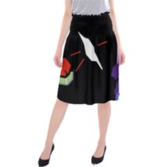 Monster Face Drawing Paint Midi Beach Skirt by Simbadda