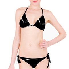 Cat Black Vector Minimalism Bikini Set