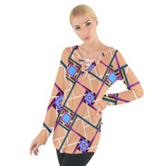 Overlaid Patterns Women s Tie Up Tee by Simbadda