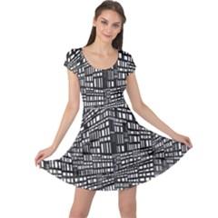 Recursive Subdivision Between 5 Source Lines Screen Black Cap Sleeve Dresses