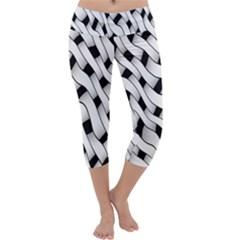 Black And White Pattern Capri Yoga Leggings by Simbadda