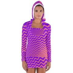 Pink And Purple Women s Long Sleeve Hooded T Shirt by Simbadda
