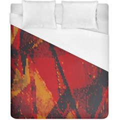 Surface Line Pattern Red Duvet Cover (California King Size)
