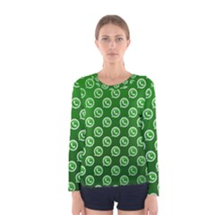 Whatsapp Logo Pattern Women s Long Sleeve Tee by Simbadda