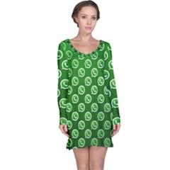 Whatsapp Logo Pattern Long Sleeve Nightdress by Simbadda