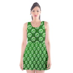 Whatsapp Logo Pattern Scoop Neck Skater Dress by Simbadda