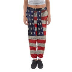 Vintage American Flag Women s Jogger Sweatpants by Valentinaart