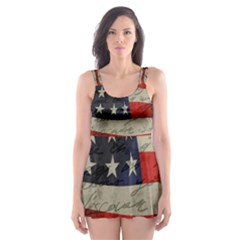 Vintage American Flag Skater Dress Swimsuit by Valentinaart