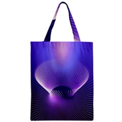 Abstract Fractal 3d Purple Artistic Pattern Line Zipper Classic Tote Bag by Simbadda