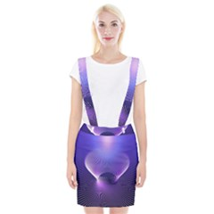 Abstract Fractal 3d Purple Artistic Pattern Line Suspender Skirt
