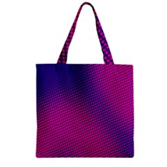 Retro Halftone Pink On Blue Zipper Grocery Tote Bag by Simbadda