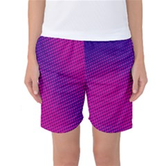 Retro Halftone Pink On Blue Women s Basketball Shorts