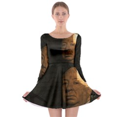 Alfred Hitchcock   Psycho  Long Sleeve Skater Dress by Valentinaart