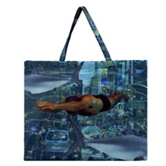 Urban Swimmers   Zipper Large Tote Bag by Valentinaart
