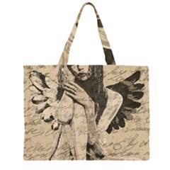 Vintage Angel Zipper Large Tote Bag by Valentinaart