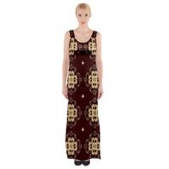 Seamless Ornament Symmetry Lines Maxi Thigh Split Dress by Simbadda