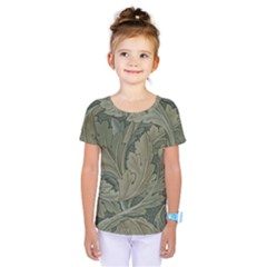 Vintage Background Green Leaves Kids  One Piece Tee by Simbadda