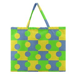 Abric Cotton Bright Blue Lime Zipper Large Tote Bag by Simbadda