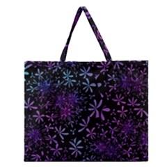 Retro Flower Pattern Design Batik Zipper Large Tote Bag by Simbadda