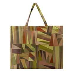 Earth Tones Geometric Shapes Unique Zipper Large Tote Bag
