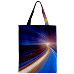 Glow Motion Lines Light Blue Gold Zipper Classic Tote Bag by Alisyart
