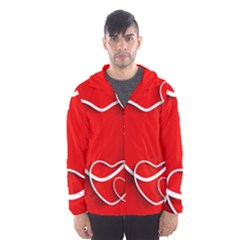 Heart Love Valentines Day Red Hooded Wind Breaker (men) by Alisyart
